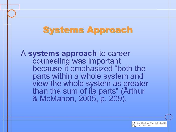 """Systems Approach A systems approach to career counseling was important because it emphasized """"both"""