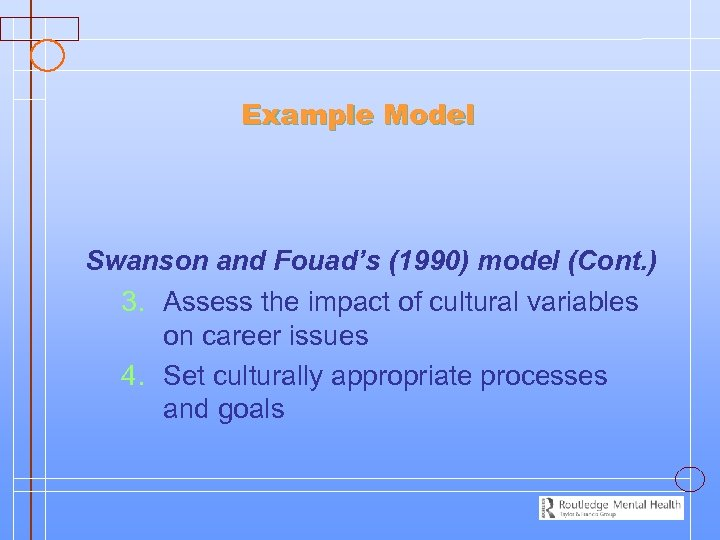 Example Model Swanson and Fouad's (1990) model (Cont. ) 3. Assess the impact of