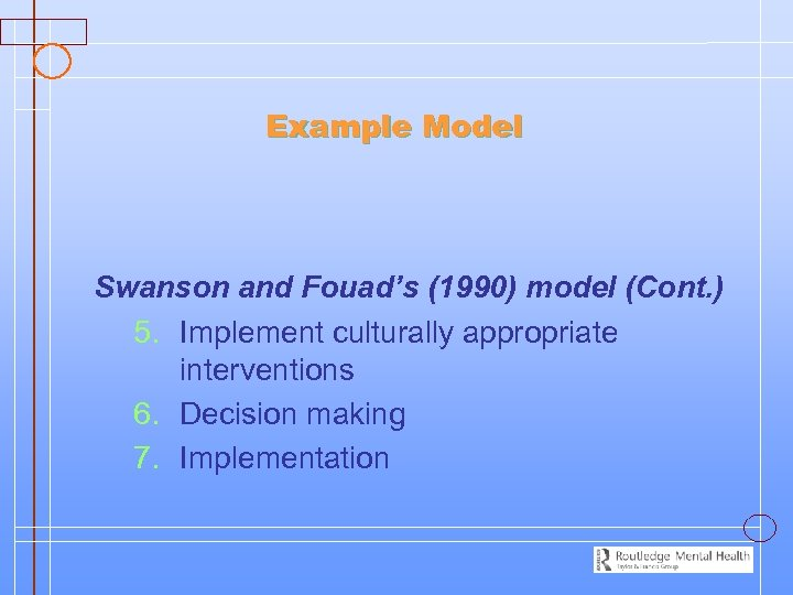 Example Model Swanson and Fouad's (1990) model (Cont. ) 5. Implement culturally appropriate interventions