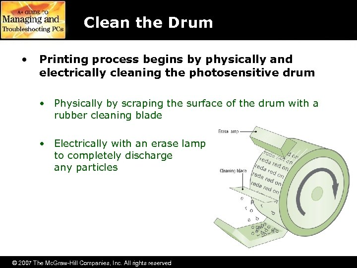 Clean the Drum • Printing process begins by physically and electrically cleaning the photosensitive