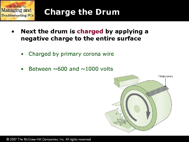 Charge the Drum • Next the drum is charged by applying a negative charge