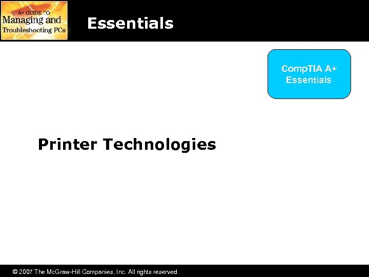 Essentials Comp. TIA A+ Essentials Getting the Right Sound Card Printer Technologies © 2007