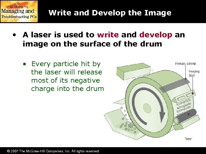 Write and Develop the Image • A laser is used to write and develop