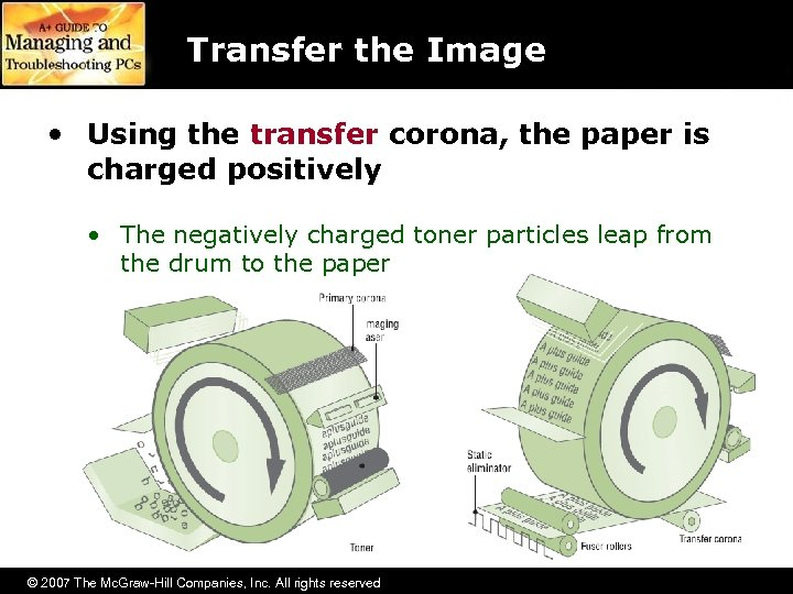 Transfer the Image • Using the transfer corona, the paper is charged positively •