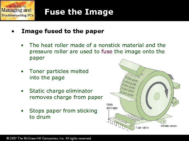 Fuse the Image • Image fused to the paper • The heat roller made