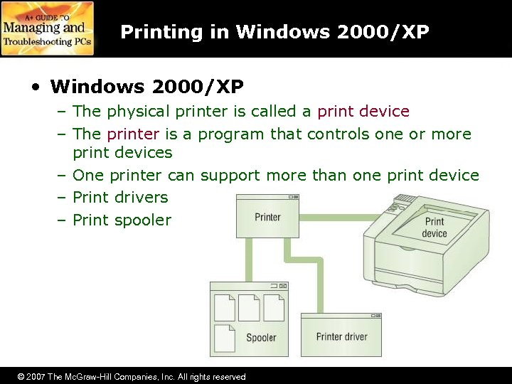 Printing in Windows 2000/XP • Windows 2000/XP – The physical printer is called a