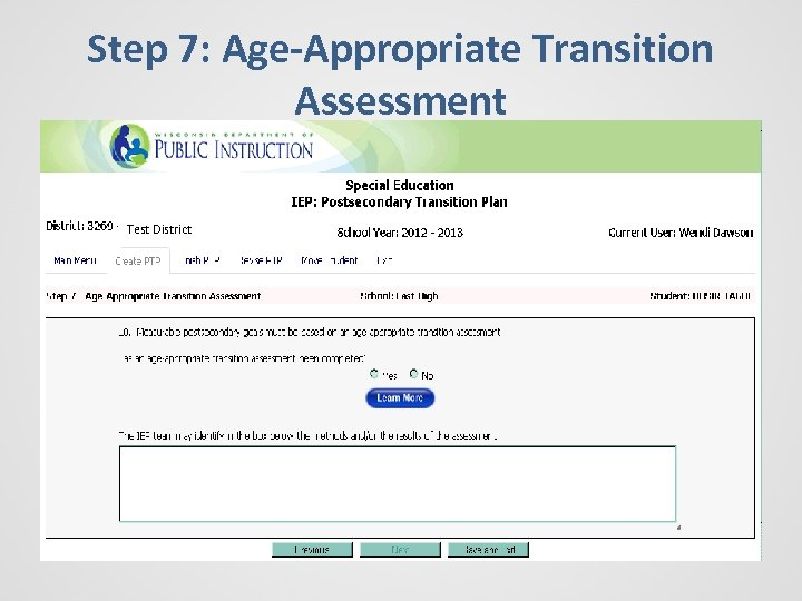 Step 7: Age-Appropriate Transition Assessment Test District
