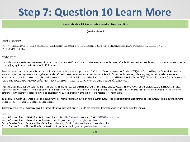 Step 7: Question 10 Learn More