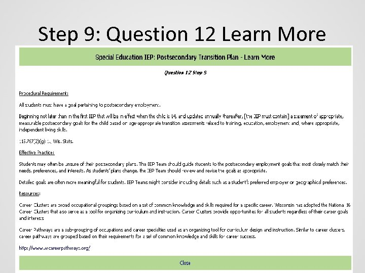 Step 9: Question 12 Learn More