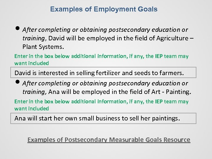 Examples of Employment Goals • After completing or obtaining postsecondary education or training, David