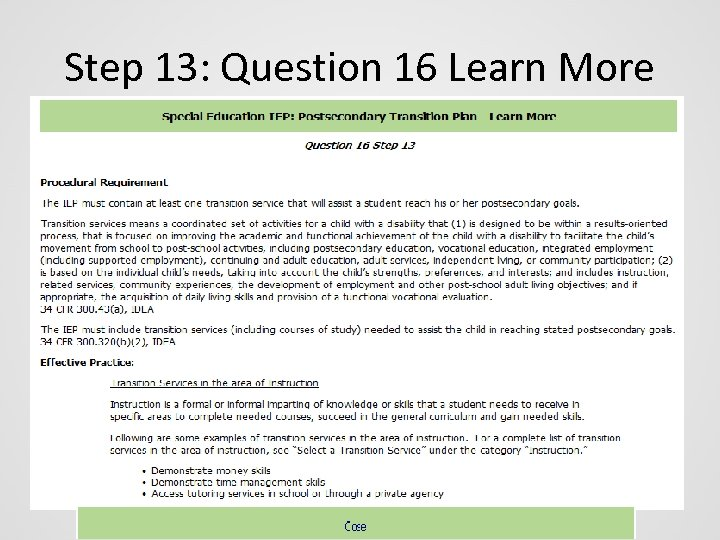 Step 13: Question 16 Learn More