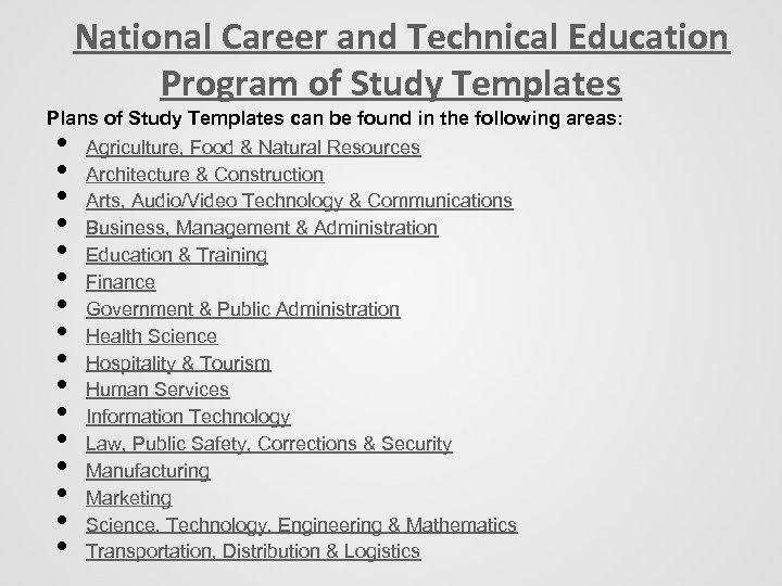 National Career and Technical Education Program of Study Templates Plans of Study Templates can