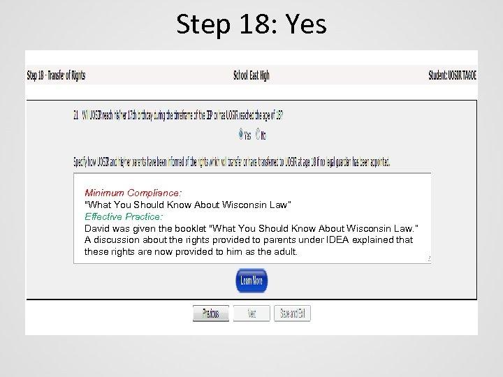 Step 18: Yes Minimum Compliance:
