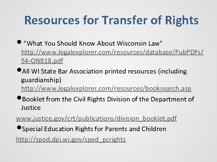 Resources for Transfer of Rights •