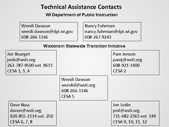 Technical Assistance Contacts WI Department of Public Instruction Wendi Dawson wendi. dawson@dpi. wi. gov