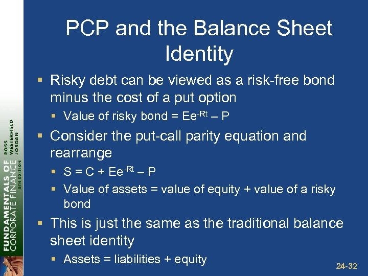 PCP and the Balance Sheet Identity § Risky debt can be viewed as a