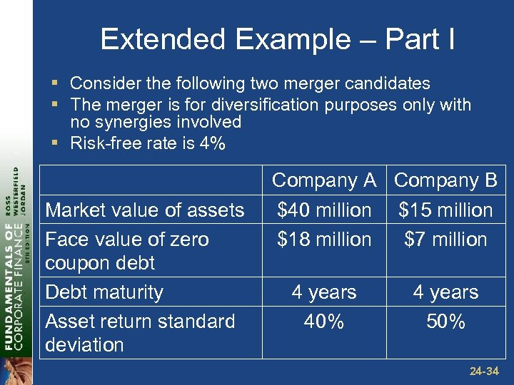 Extended Example – Part I § Consider the following two merger candidates § The