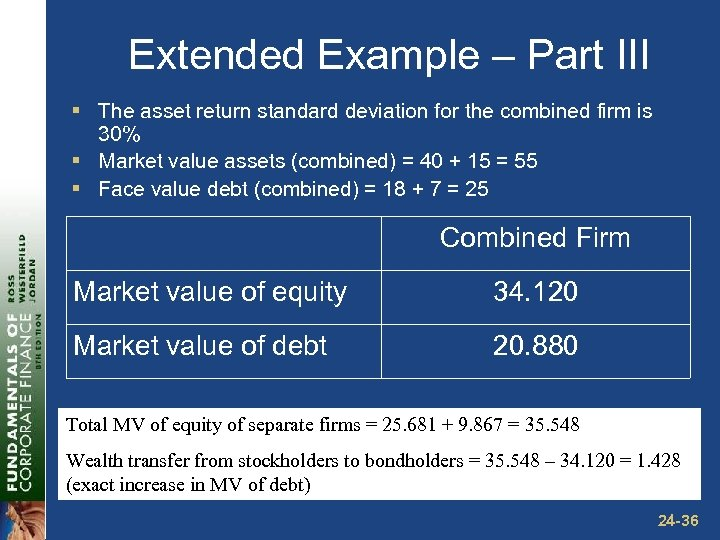 Extended Example – Part III § The asset return standard deviation for the combined