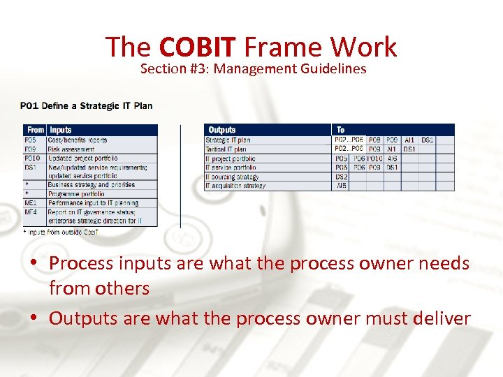The COBIT Frame Work Section #3: Management Guidelines • Process inputs are what the