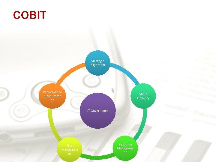 COBIT Strategic Alignment Performance Measureme nt Value Delivery IT Governance Risk Manageme nt Resource