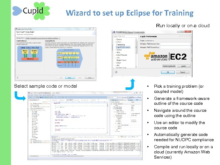 Wizard to set up Eclipse for Training Run locally or on a cloud Select