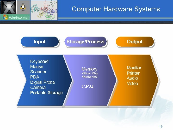 Computer Hardware Systems Input Keyboard Mouse Scanner PDA Digital Probe Camera Portable Storage/Process Memory