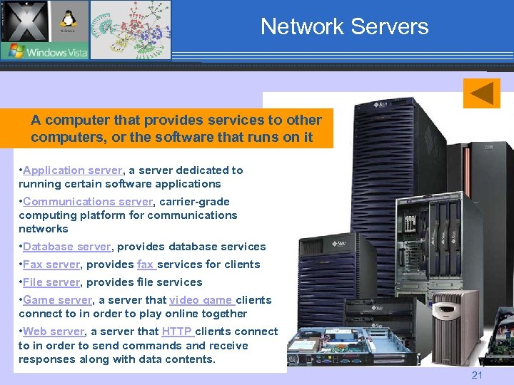 Network Servers A computer that provides services to other computers, or the software that