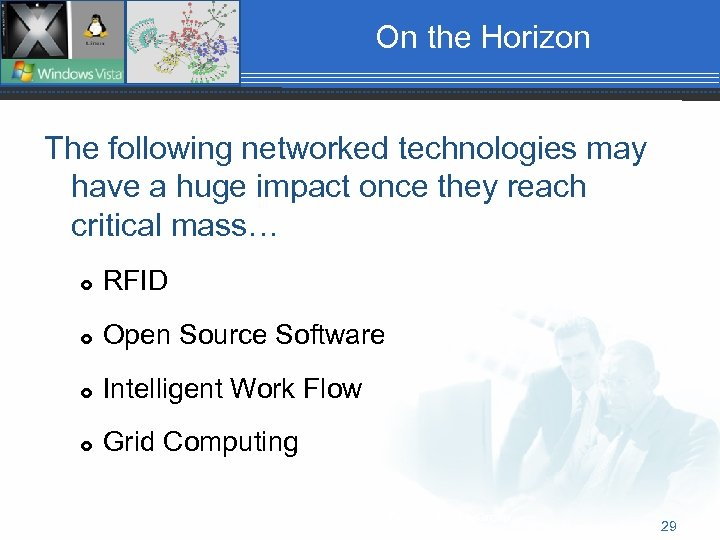 On the Horizon The following networked technologies may have a huge impact once they