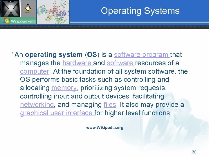 """Operating Systems """"An operating system (OS) is a software program that manages the hardware"""
