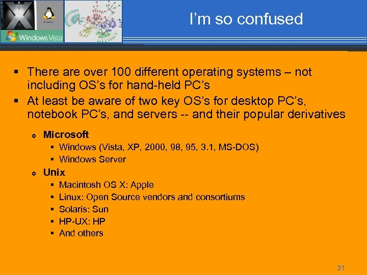 I'm so confused § There are over 100 different operating systems – not including