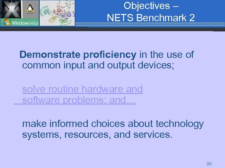 Objectives – NETS Benchmark 2 Demonstrate proficiency in the use of common input and