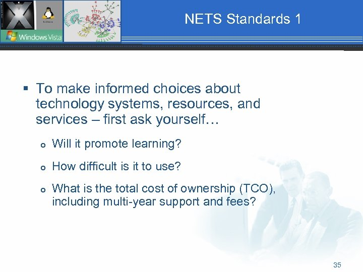 NETS Standards 1 § To make informed choices about technology systems, resources, and services