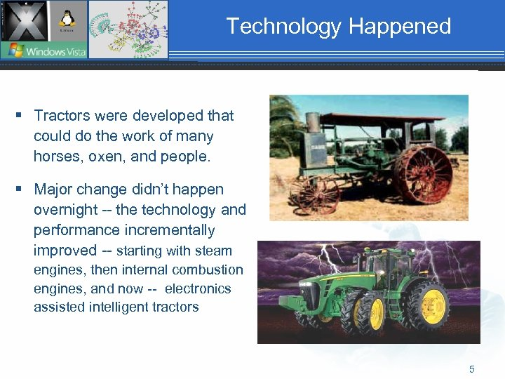 Technology Happened § Tractors were developed that could do the work of many horses,