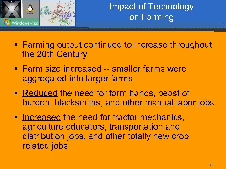 Impact of Technology on Farming § Farming output continued to increase throughout the 20
