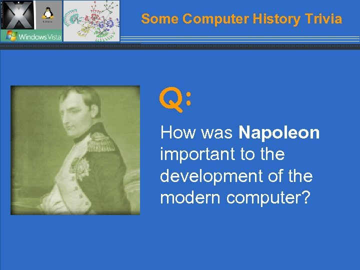 Some Computer History Trivia Q: How was Napoleon important to the development of the
