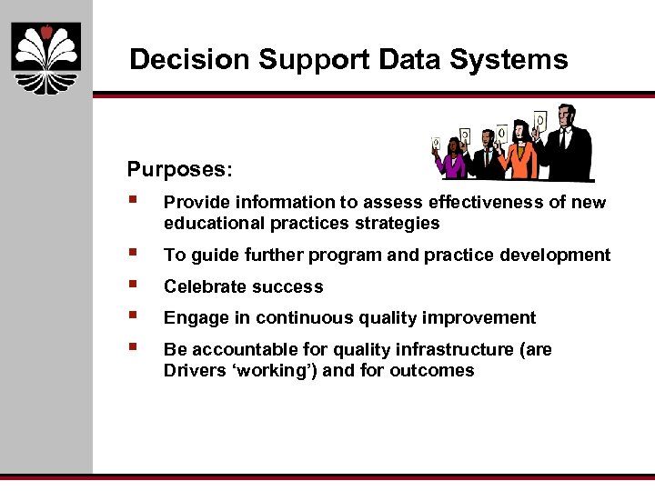 Decision Support Data Systems Purposes: § Provide information to assess effectiveness of new educational