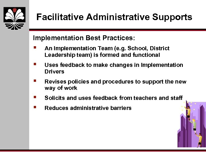 Facilitative Administrative Supports Implementation Best Practices: § An Implementation Team (e. g. School, District