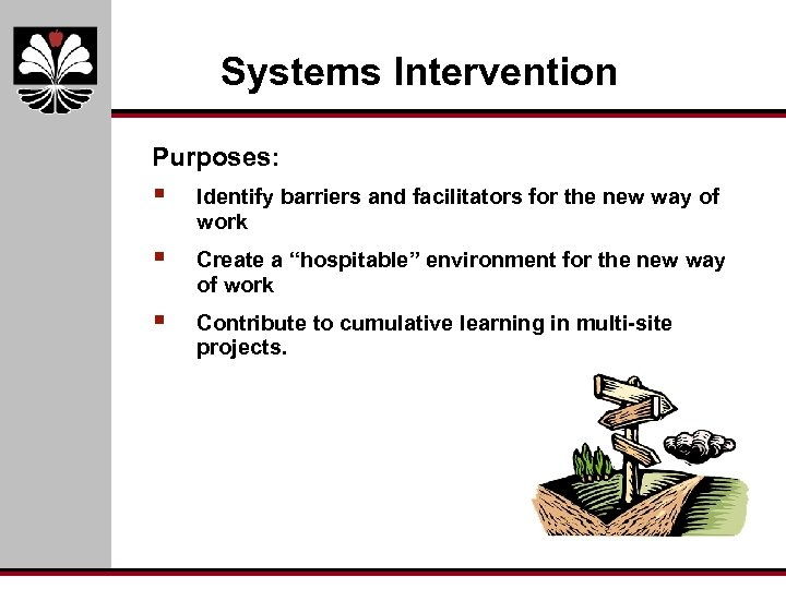 Systems Intervention Purposes: § Identify barriers and facilitators for the new way of work