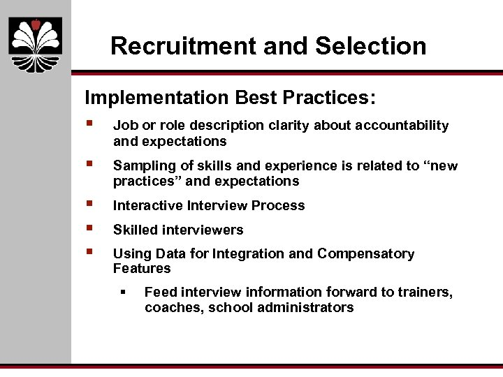 Recruitment and Selection Implementation Best Practices: § Job or role description clarity about accountability