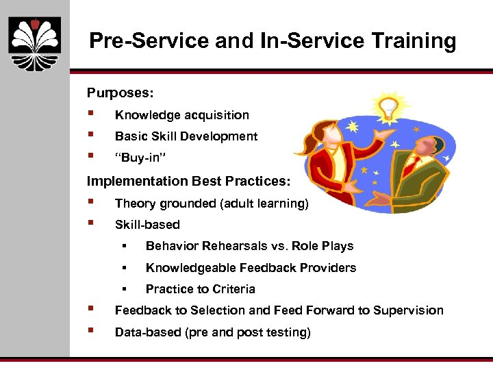"""Pre-Service and In-Service Training Purposes: § § § Knowledge acquisition Basic Skill Development """"Buy-in"""""""