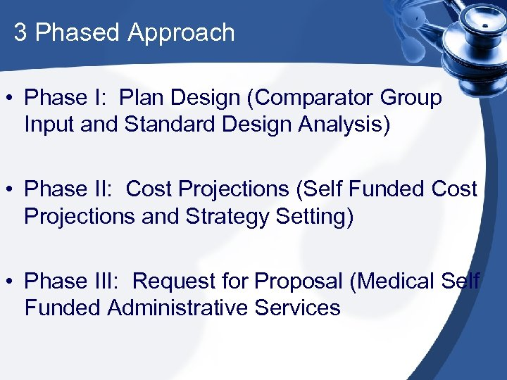 3 Phased Approach • Phase I: Plan Design (Comparator Group Input and Standard Design