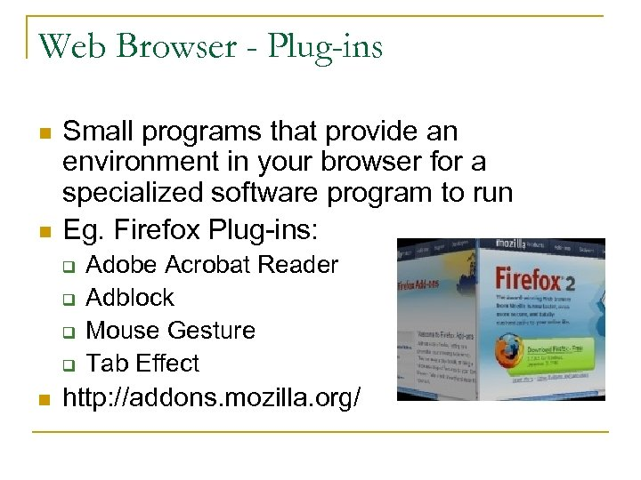 Web Browser - Plug-ins n n Small programs that provide an environment in your