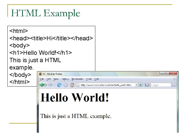 HTML Example <html> <head><title>Hi</title></head> <body> <h 1>Hello World!</h 1> This is just a HTML