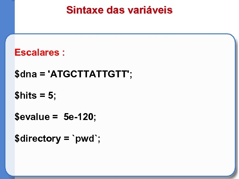Sintaxe das variáveis Escalares : $dna = 'ATGCTTATTGTT'; $hits = 5; $evalue = 5