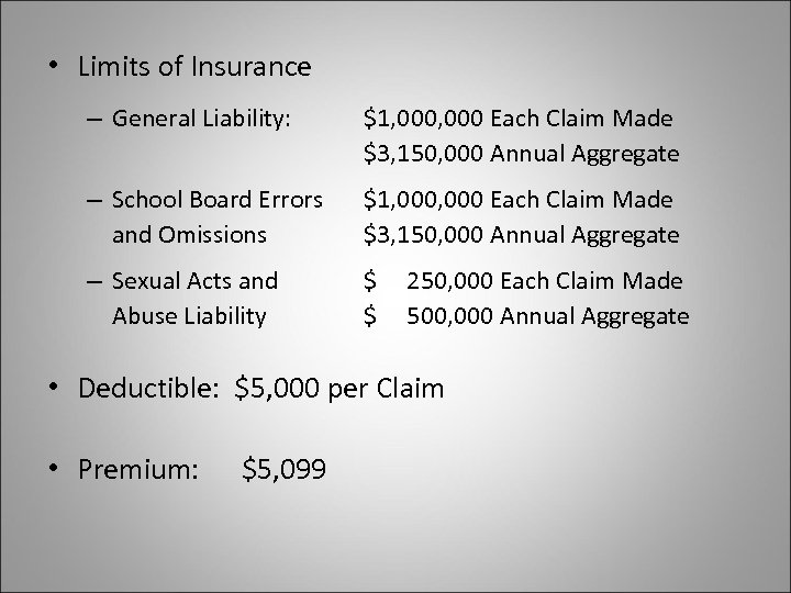 • Limits of Insurance – General Liability: $1, 000 Each Claim Made $3,