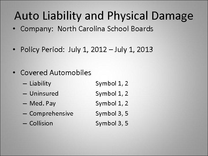Auto Liability and Physical Damage • Company: North Carolina School Boards • Policy Period: