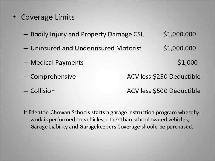 • Coverage Limits – Bodily Injury and Property Damage CSL $1, 000 –