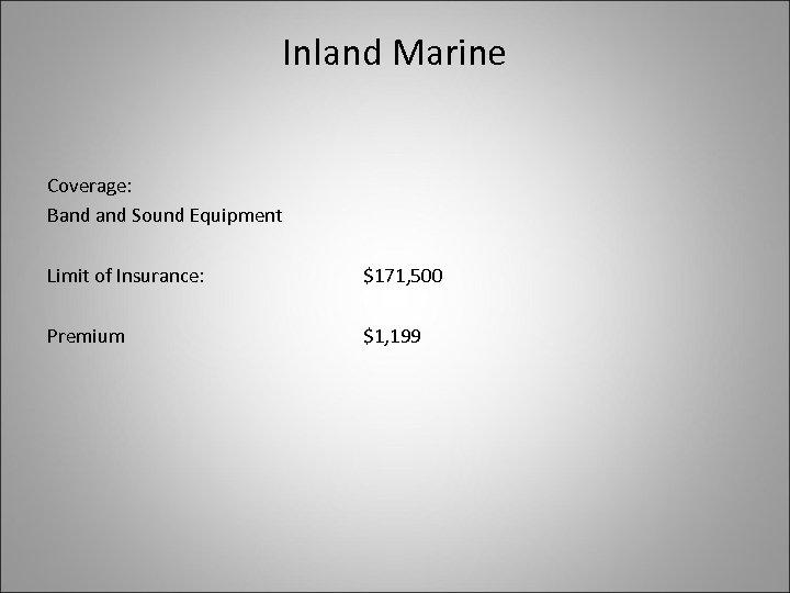 Inland Marine Coverage: Band Sound Equipment Limit of Insurance: $171, 500 Premium $1, 199