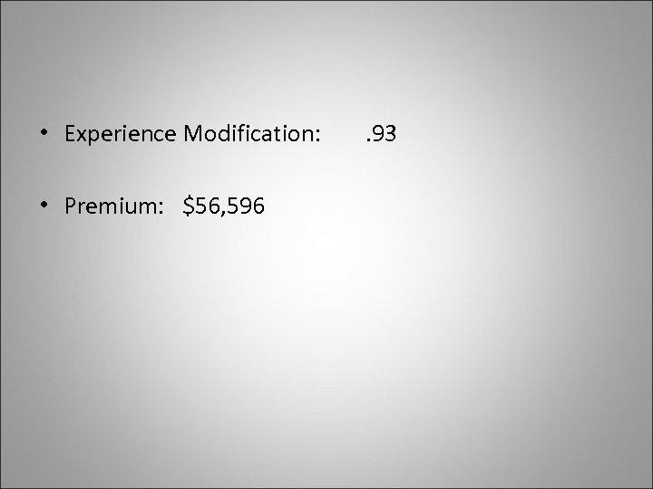 • Experience Modification: • Premium: $56, 596 . 93