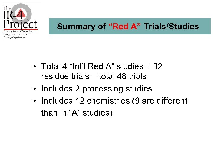 """Summary of """"Red A"""" Trials/Studies • Total 4 """"Int'l Red A"""" studies + 32"""